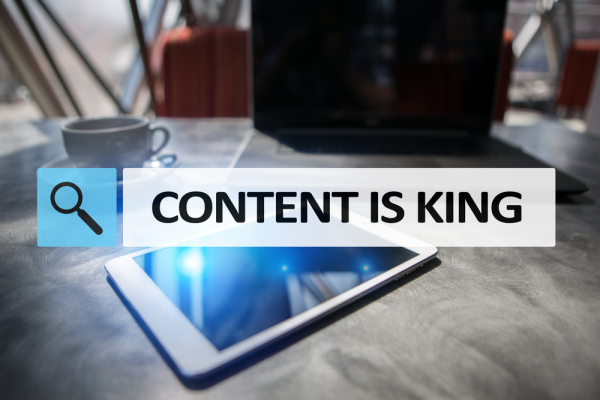 Content is king text in search bar. Business, technology and internet concept. Digital marketing