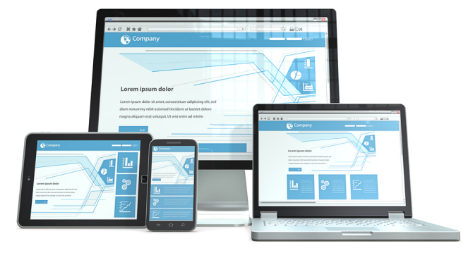 Smartphone,laptop,screen and tablet computer.RWD, No branded. Perspective view.